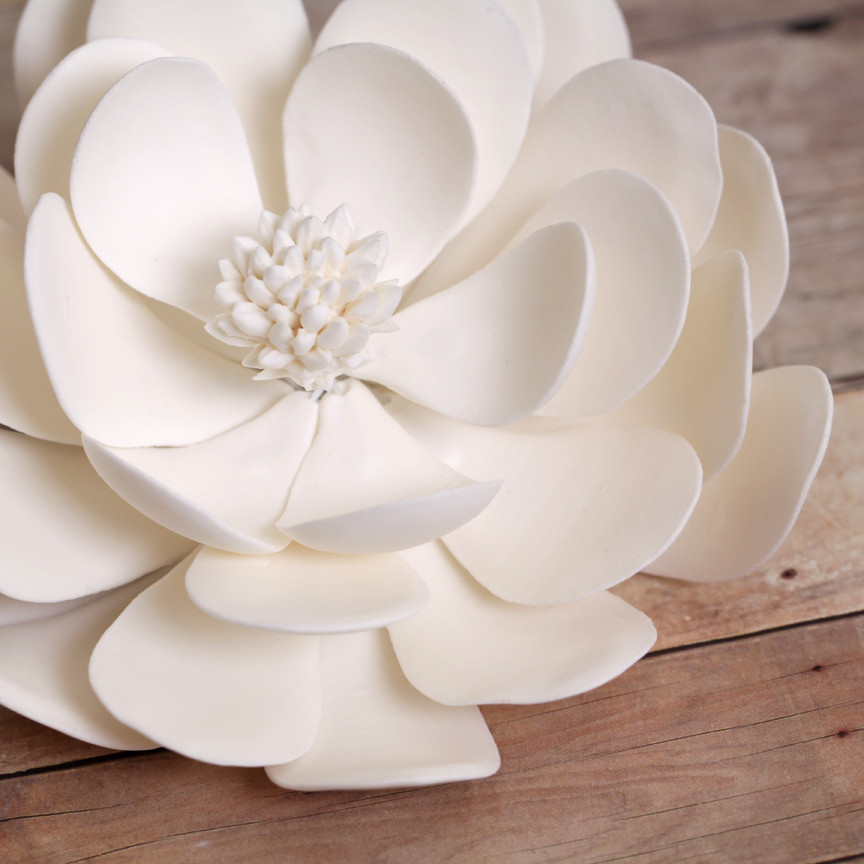 Gumpaste Flowers For Wedding Cakes: Large White Dahlia Sugar Flowers Wedding Birthday Cake