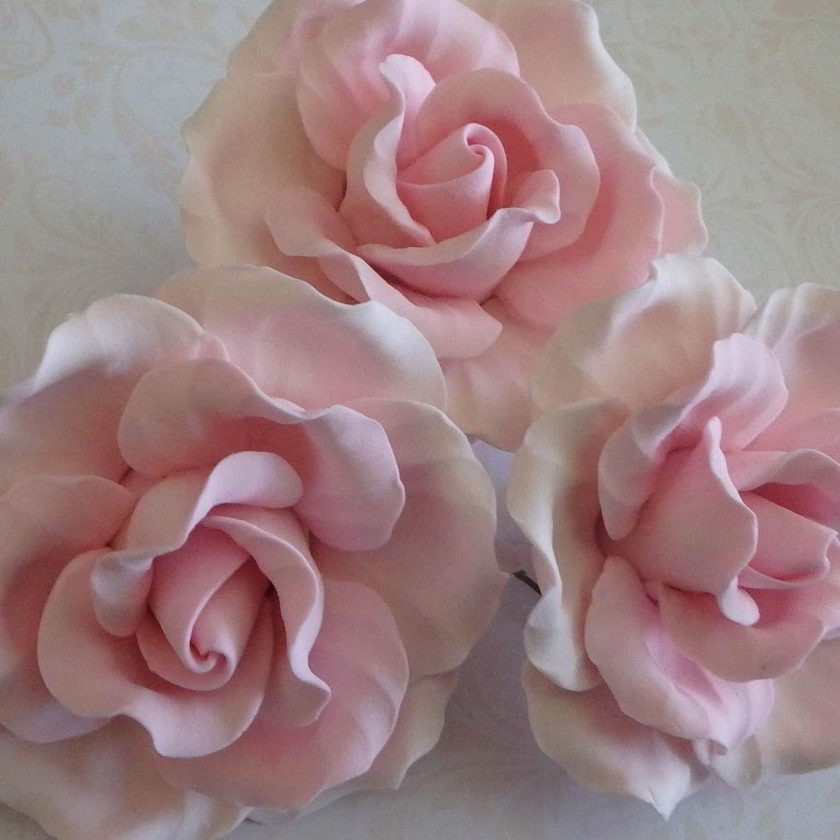3 Large Roses Sugar flowers wedding birthday cake ...