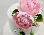 Large Peony spray pink on cake