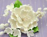 Open peony hydrangea white spray